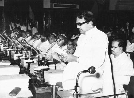 February 26, 1973- CM. Karunanidhi presents the budget for the year 1973-74