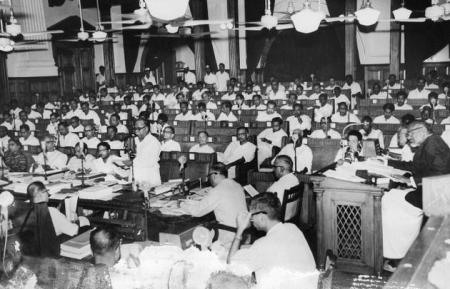 June 17, 1967- C.N. Annadurai, Chief Minister is seen presenting the budget for the year 1967-68 on the floor of the Legislative Assembly.