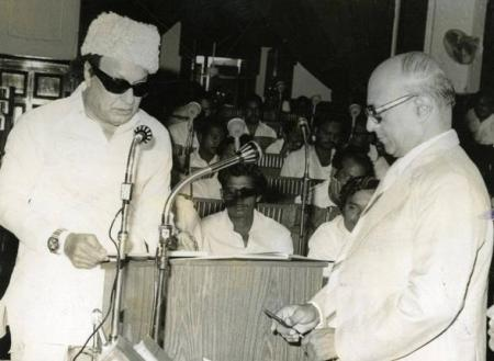 June 19, 1980- M.G. Ramachandran being sworn in as Member of the Tamil Nadu Assembly.