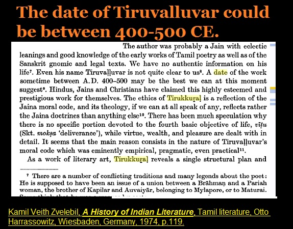 Date of Thiruvalluvar 400-500 CE