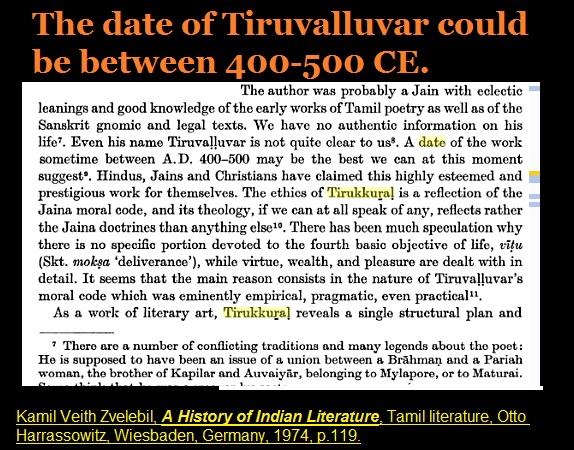 Date of Thiruvalluvar 400-500 CE