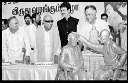 Karunanidhi blessed by Rajaji